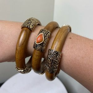 Studio Barse HSN Wooden Brass and Coral Bangle Set